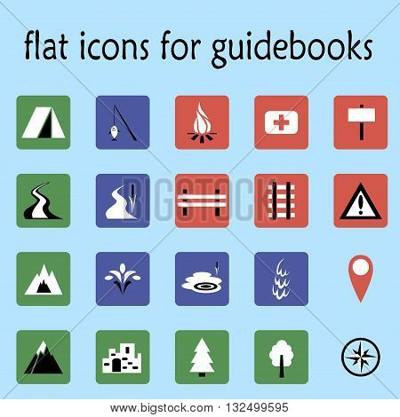vector illustration flat icons set for guidebooks