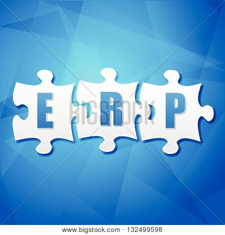 ERP - text in white puzzle pieces over blue background, flat design, enterprise resource planning systems, business concept, vector