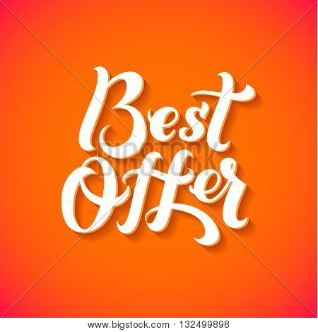 Best Offer Logo. Best Offer print on T-shirt. White calligraphy lettering on an orange background.