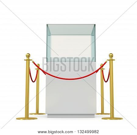 Empty glass showcase for exhibit with barrier rope. 3D illustration