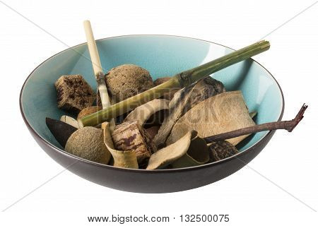 Angled view of a bowl with potpourri - home decor.