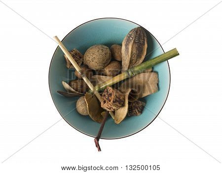 overhead view of a bowl containing potpourri.