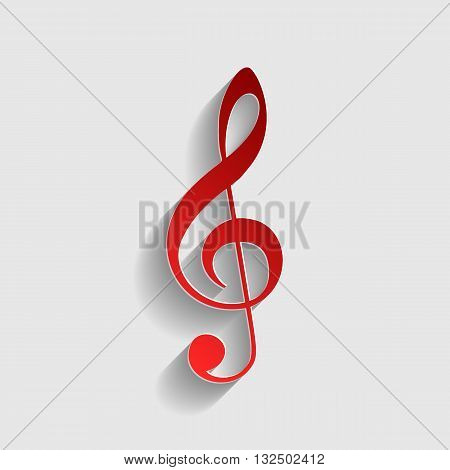 Music violin clef sign. G-clef. Treble clef. Red paper style icon with shadow on gray.