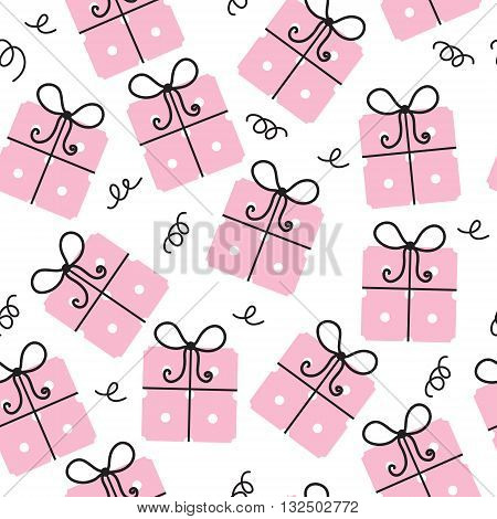 Gift seamless texture. Gifts background. Celebratory background. Vector illustration.