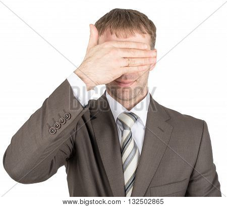 Man closes his eyes with his hand isolated on white background