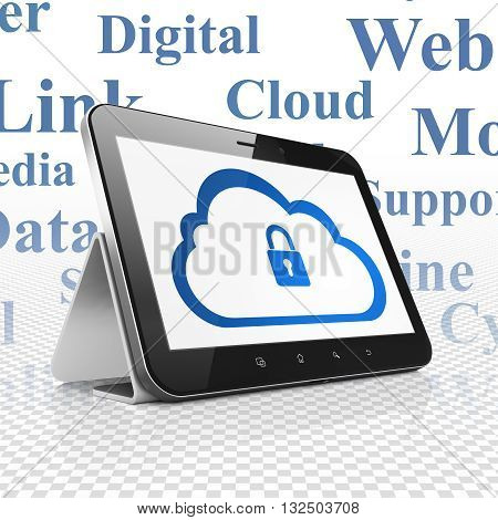 Cloud networking concept: Tablet Computer with  blue Cloud With Padlock icon on display,  Tag Cloud background, 3D rendering