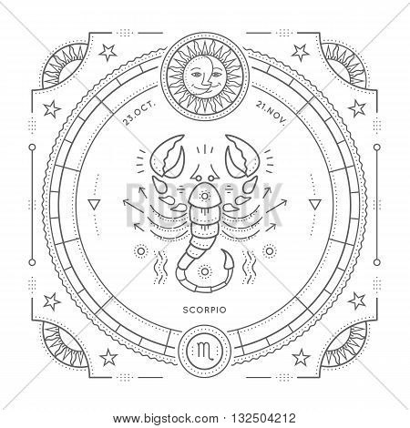 Vintage thin line Scorpio zodiac sign label. Retro vector astrological symbol mystic sacred geometry element emblem logo. Stroke outline illustration. Isolated on white background.