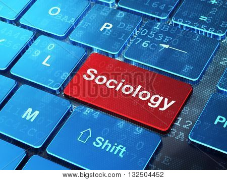 Studying concept: computer keyboard with word Sociology on enter button background, 3D rendering