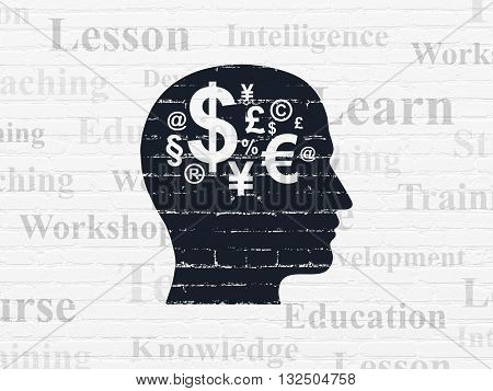 Learning concept: Painted black Head With Finance Symbol icon on White Brick wall background with  Tag Cloud