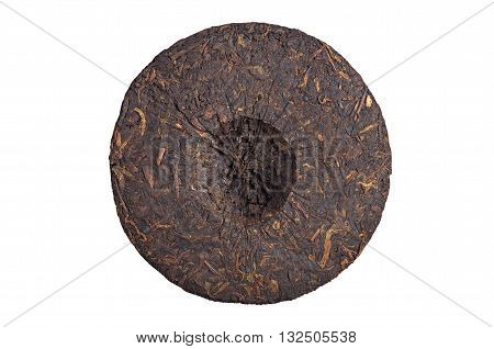 Pressed pu-erh tea backside isolated on a white background top view