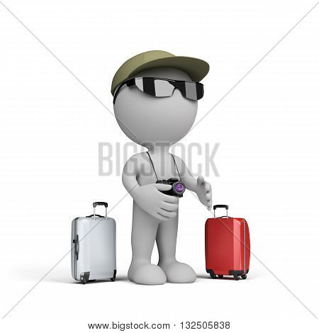 3D man with a suitcase and camera going on vacation. 3d image. White background.