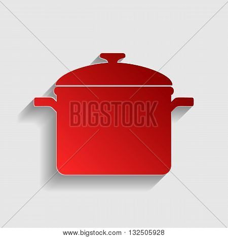 Cooking pan sign. Red paper style icon with shadow on gray.