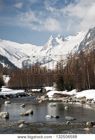 Panorama on Val Ferret, with Dora in the foreground and in the background the Mont Blanc and Val Veny.