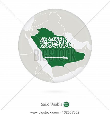 Map Of Saudi Arabia And National Flag In A Circle.