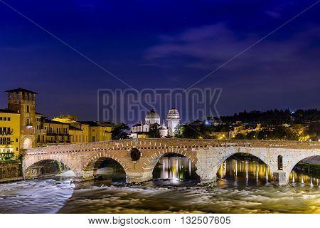 Verona, Italy - May 01, 2015: Verona Ponte Pietra night river