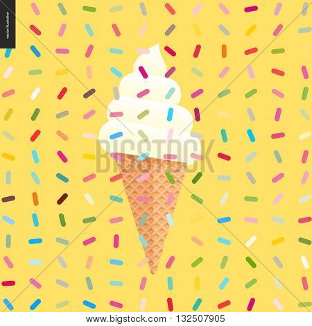 Cartoon flat vector illustrated ice cream cone and white soft scoop, with twisted geometric colorful pattern of sprinkles above on the yellow background