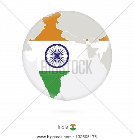 Map Of India And National Flag In A Circle.