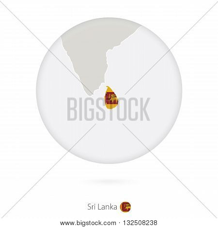 Map Of Sri Lanka And National Flag In A Circle.
