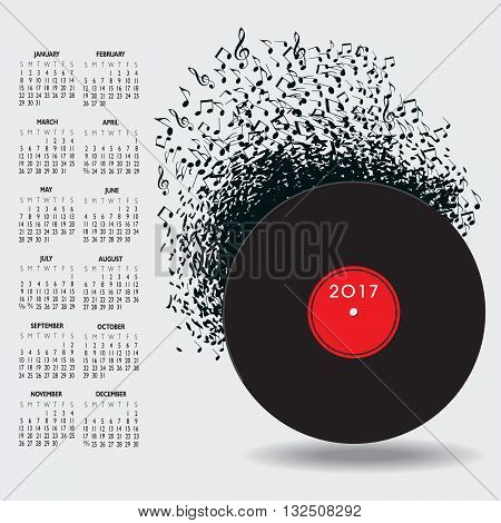 2017 Music Calendar With Notes for Print or Web