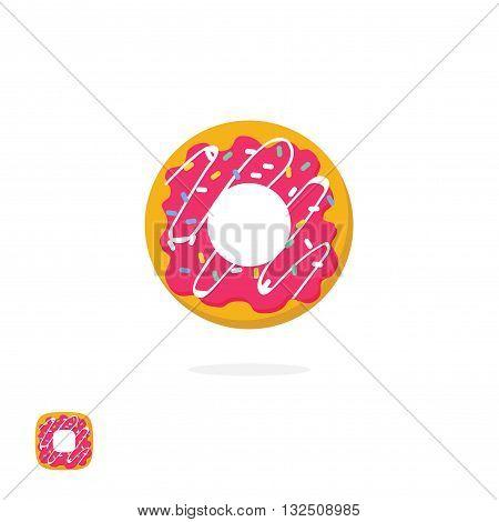 Donut vector icon isolated on white background, flat cartoon glazed iced donut symbol