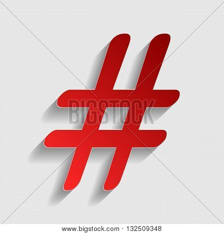 Hashtag sign illustration. Red paper style icon with shadow on gray.