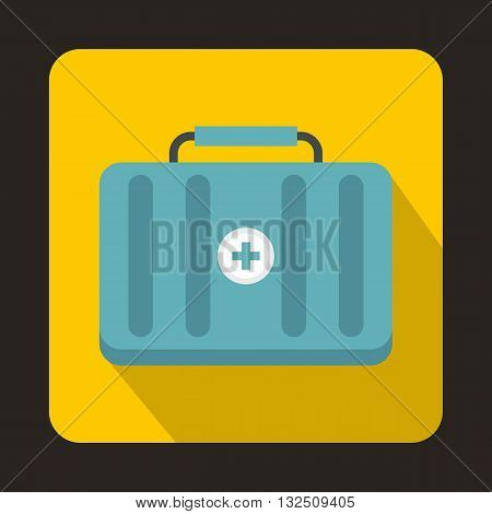 First aid kit icon in flat style on a yellow background
