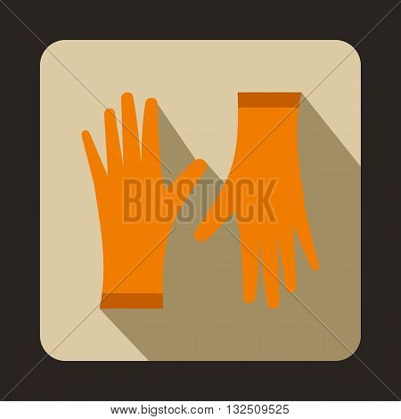 Orange protective gloves icon in flat style on a beige background