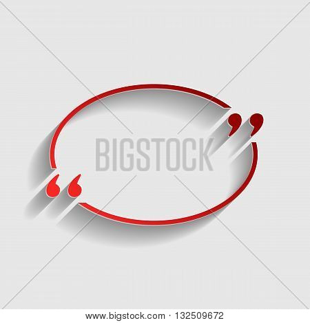 Text quote sign. Red paper style icon with shadow on gray.