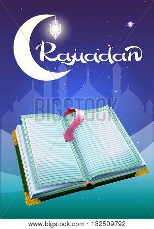 Ramadan and open book Koran. Illustration in vector format