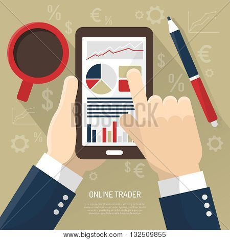 Stock market on smartphone with hands of trader cup of coffee stylus on beige background vector illustration