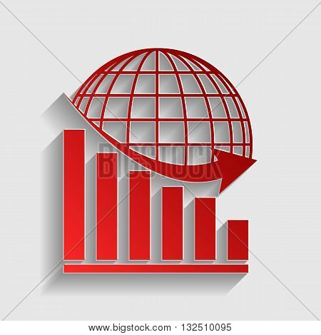 Declining graph with earth. Red paper style icon with shadow on gray.