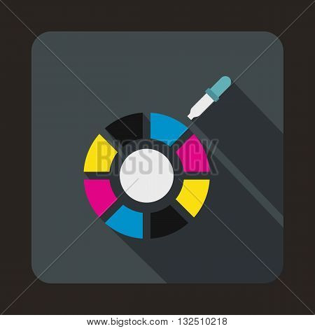 Color picker icon in flat style on a gray background