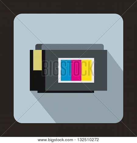 Inkjet printer cartridge icon in flat style on a light blue background