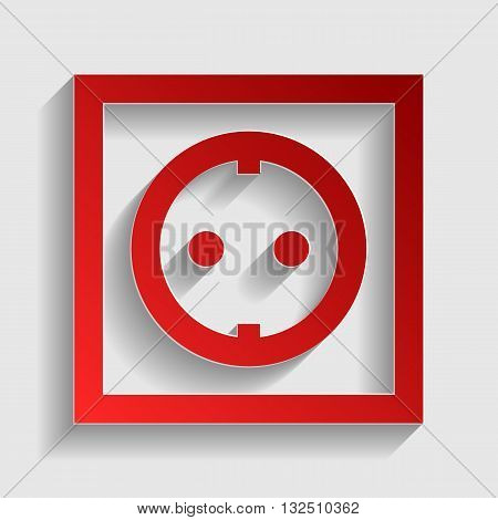Electrical socket sign. Red paper style icon with shadow on gray.