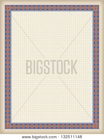 Decorative frame and background, Letter page format, Arabic style. Pattern brush for rectangular frame and swatch for fill are included.