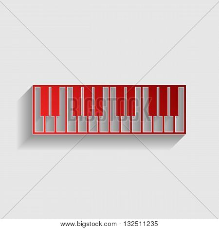 Piano Keyboard sign. Red paper style icon with shadow on gray.