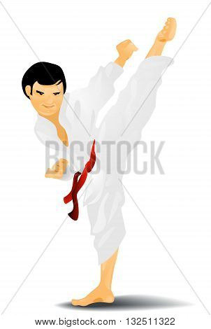 Vector illustration of a young karateka kicking