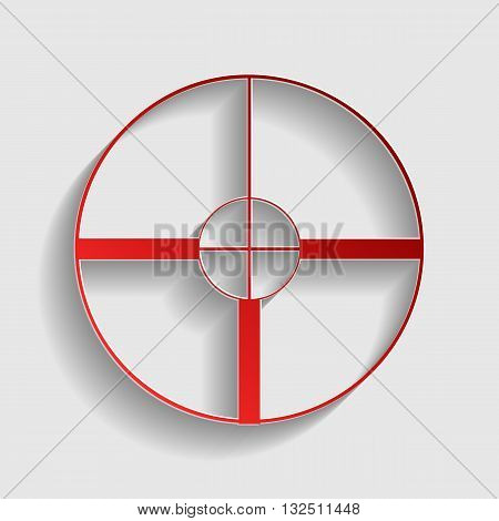 Sight sign illustration. Red paper style icon with shadow on gray.