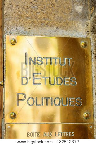 AIX-EN-PROVENCE FRANCE - JUL 17 2014: Golden plaque of Institut d'Etudes Politiques - Institut of Policitcal Studies in Aix-En-Provence France