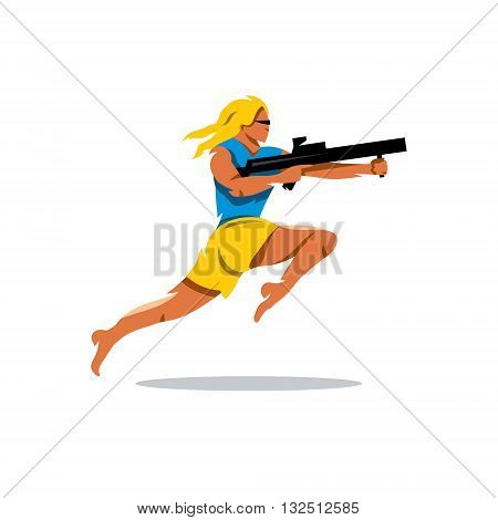 Girl with rifle shooting. Isolated on a white background