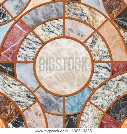 Closeup surface tile circle pattern by mix of colorful marble stone floor texture background