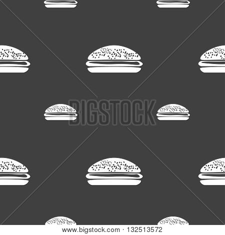 Burger, Hamburger Icon Sign. Seamless Pattern On A Gray Background. Vector