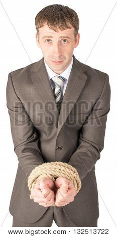 Sad businessman bound with rope isolated on white background