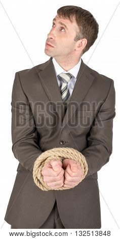 Businessman with bound hands isolated on white background