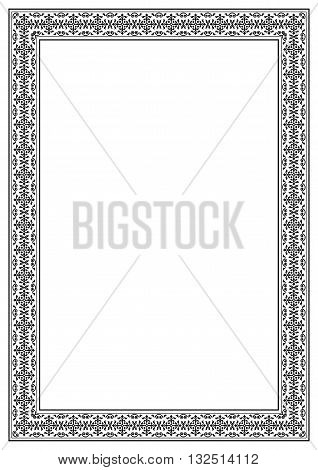 Decorative black and white frame, A 4 page format, Arabic style. Pattern brush for frame is included.