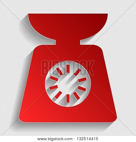 Kitchen scales sign. Red paper style icon with shadow on gray.