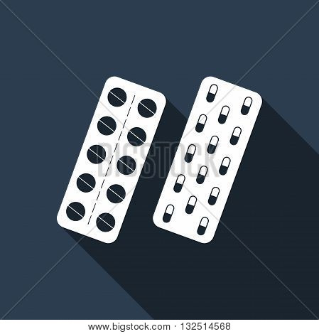 Pills in a blister pack icon with long shadow. Vector illustration