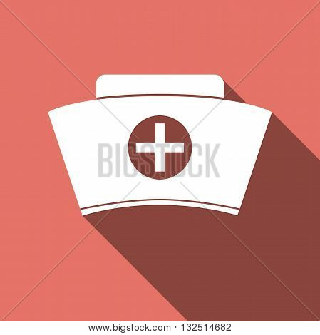 Nurse hat icon with long shadow. Vector illustration.