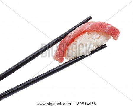 Tuna Sushi Nigiri In Chopsticks Isolated On White Background