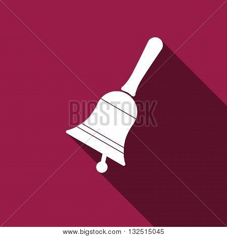 Bell icon with long shadow. Vector illustration.